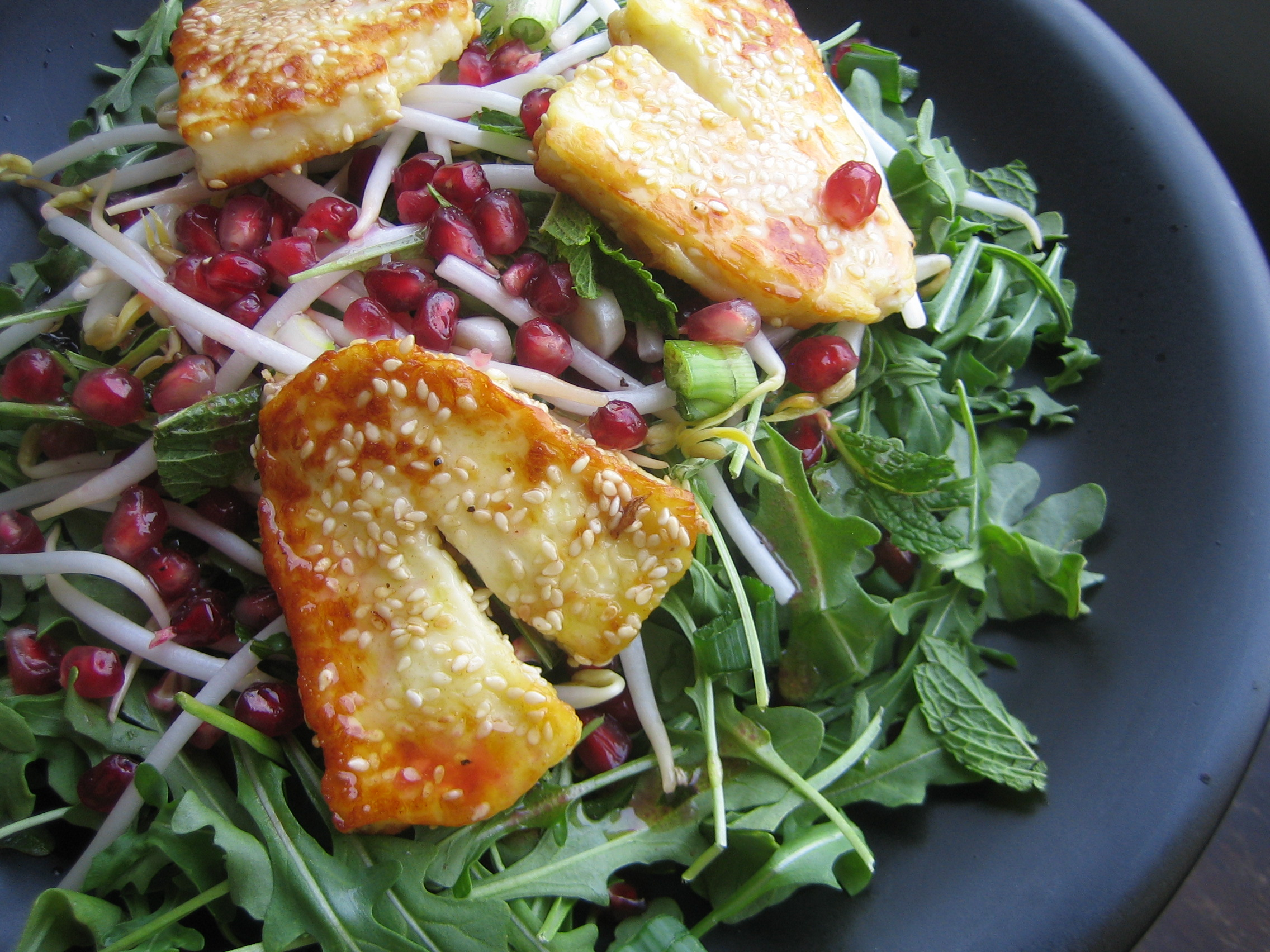 Sesame-Fried Halloumi and Pomegranate Salad